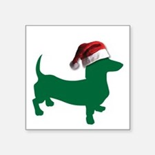 Christmas Green Dachshund Sticker