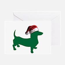 Christmas Green Dachshund Greeting Cards