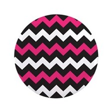 """Black Pink And White Chevron 3.5"""" Button (100 pack"""