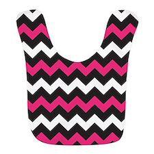 Black Pink And White Chevron Bib