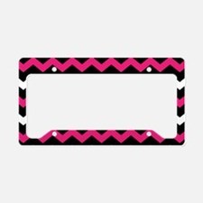 Black Pink And White Chevron License Plate Holder