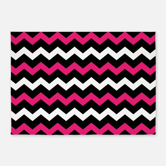 Black Pink And White Chevron 5'x7'Area Rug