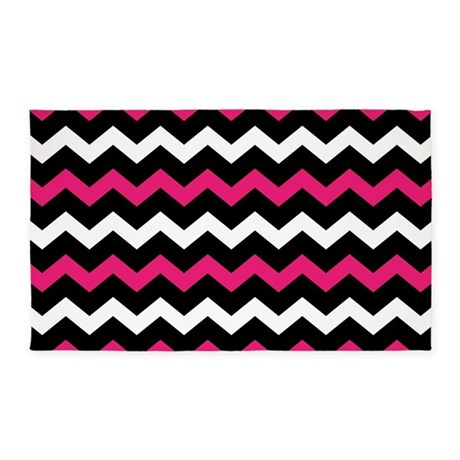 black_pink_and_white_chevron_3x5_area_rug.jpg?color=White&height=460 ...