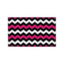 Black Pink And White Chevron 3'x5' Area Rug