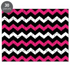 Black Pink And White Chevron Puzzle
