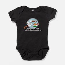 stork baby india2 white.psd Baby Bodysuit