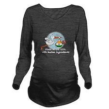 stork baby india2 wh Long Sleeve Maternity T-Shirt