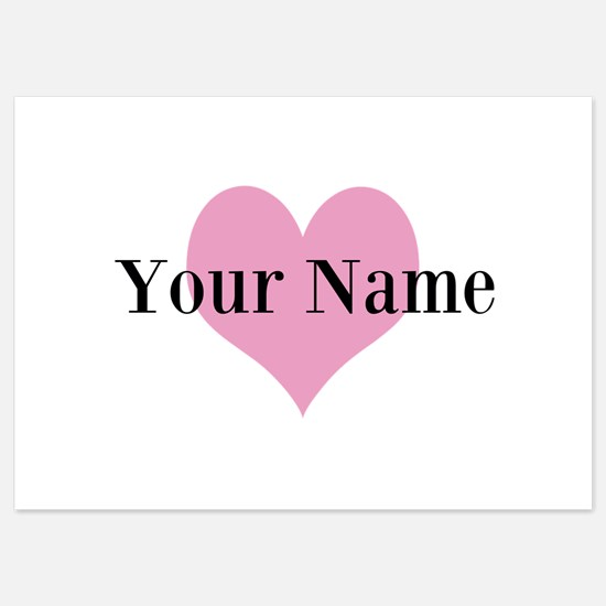 Pink heart and personalized name Invitations