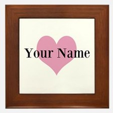 Pink heart and personalized name Framed Tile