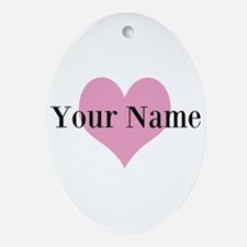 Pink heart and personalized name Ornament (Oval)
