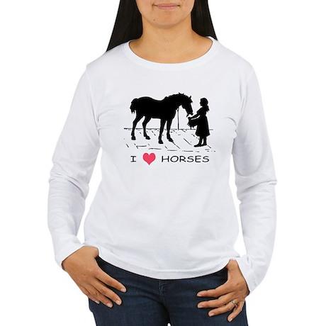I Love Horses w/ Horse & Girl Women's Long Sleeve