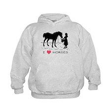I Love Horses w/ Horse & Girl Hoodie