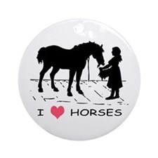 I Love Horses w/ Horse & Girl Ornament (Round)