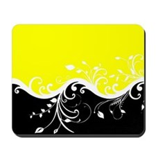 Yellow and black wave Mousepad
