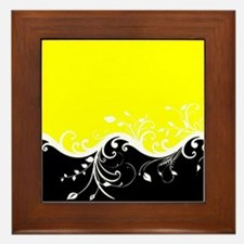 Yellow and black wave Framed Tile
