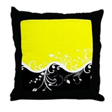 Yellow and black wave Throw Pillow