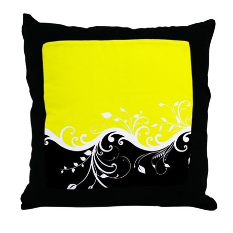 Yellow And Black Decorative Pillows : Yellow and black wave Throw Pillow by ibeleiveimages