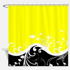 Yellow and black wave Shower Curtain