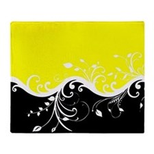 Yellow and black wave Throw Blanket