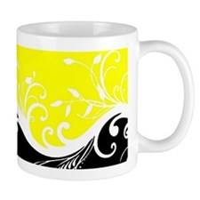 Yellow and black wave Mugs