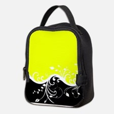Yellow and black wave Neoprene Lunch Bag