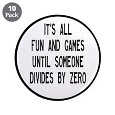 """Fun And Games Divide By Zero 3.5"""" Button (10 pack)"""