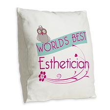 World's Best Esthetician Burlap Throw Pillow