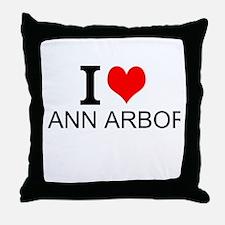 I Love Ann Arbor Throw Pillow