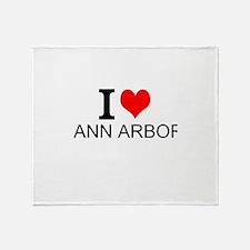 I Love Ann Arbor Throw Blanket