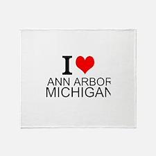 I Love Ann Arbor Michigan Throw Blanket