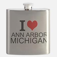 I Love Ann Arbor Michigan Flask