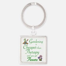 Funny Gardening Square Keychain