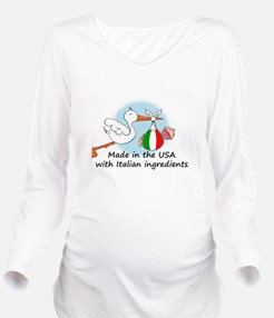 stork baby italy usa Long Sleeve Maternity T-Shirt