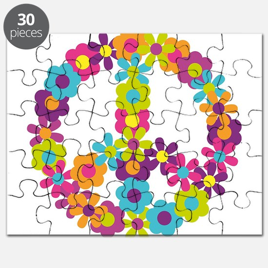 Cute Peace Symbol Made With Flowers Puzzle