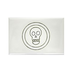 Geometric Skull Circle Rectangle Magnet (10 pack)