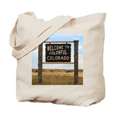 Colorful Colorado Welcome Highway Sign Tote Bag