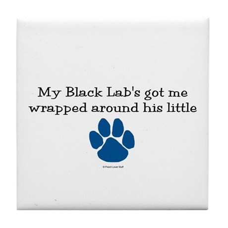 Wrapped Around His Paw (Black Lab) Tile Coaster