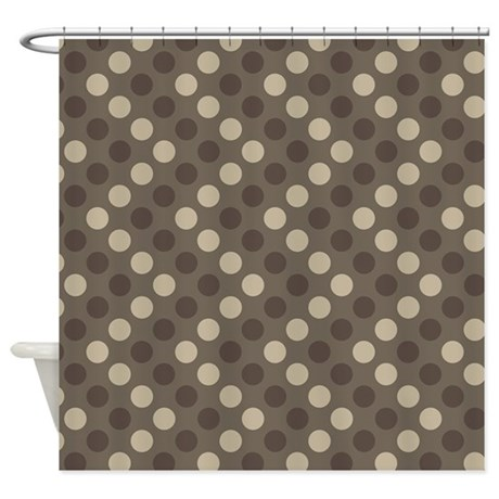 Chevron Polka Dots Tan Shower Curtain By MainstreetHomewares2