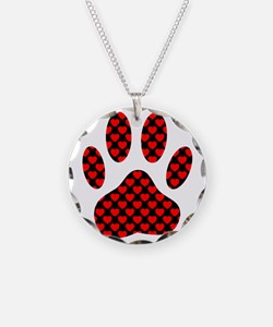 Dog Paw Print With Hearts Necklace