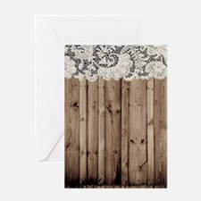 barnwood white lace country Greeting Cards