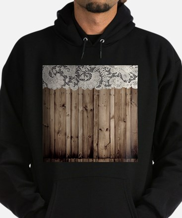 barnwood white lace country Hoodie (dark)