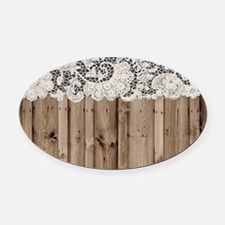 barnwood white lace country Oval Car Magnet