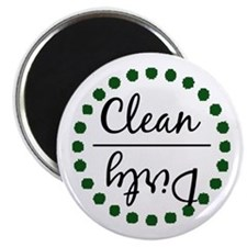 Dark Green Clean Dirty Dishwasher Magnet Magnets