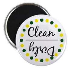 Dark Green/Gold Clean Dirty Dishwasher Magnet Magn