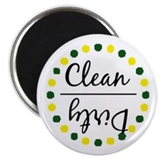 Dark Green/Gold Clean Dirty Dishwasher Magnet Magn