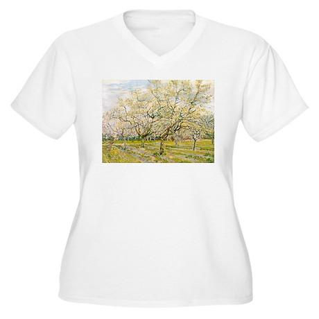 Van Gogh The White Orchard Women's Plus Size V-Nec