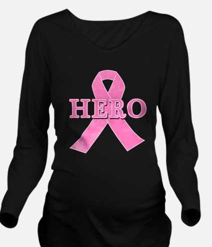HERO with Pink Ribbo Long Sleeve Maternity T-Shirt