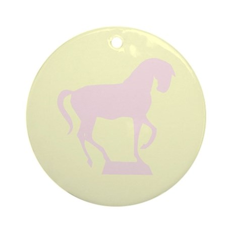 Light Pink Prancing Horse Ornament (Round)