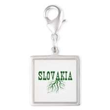 Slovakia Roots Silver Square Charm