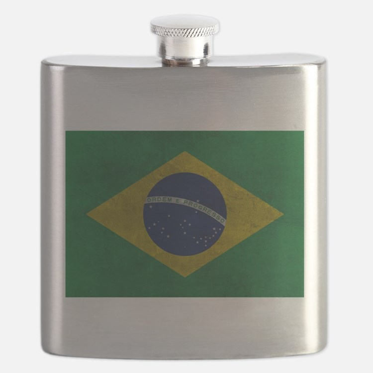 Grunge Braziilan Flag Flask